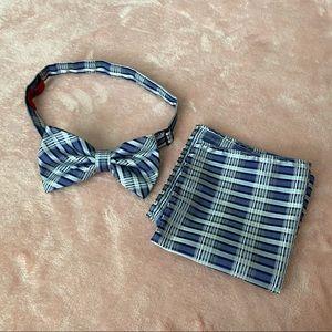 Brand Q Purple Plaid Bow Tie & Pocket Square